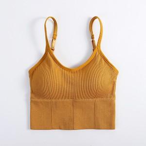 Padded Ribbed Innerwear Sexy Wear Bra - Yellow