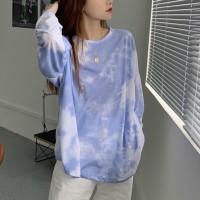 Mesh Pattern Digital Printed Full Sleeves Tops - Blue