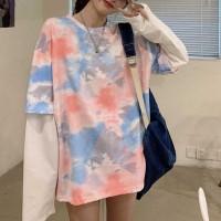 Mesh Pattern Digital Printed Full Sleeves Tops - Pink