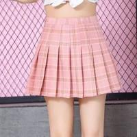 Pleated Geometric Prints A-Line Mini Skirt - Pink