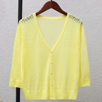 Geometric Texture Thin Fabric Line Sexy Wear Outwear Top - Yellow
