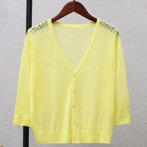 Geometric Texture Thin Fabric Line Sexy Wear Outwear Top - Yellow