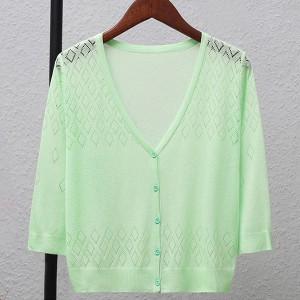 Geometric Texture Thin Fabric Line Sexy Wear Outwear Top - Green