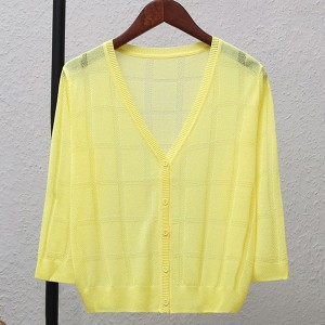 Thin Fabric Line Square Textured Sexy Wear Outwear Top - Yellow