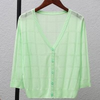 Thin Fabric Line Square Textured Sexy Wear Outwear Top - Green