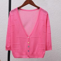 Thin Fabric Line Textured Sexy Wear Outwear Top - Pink