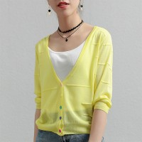 Thin Fabric Line Textured Sexy Wear Outwear Top - Yellow