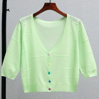 Thin Fabric Line Textured Sexy Wear Outwear Top - Green