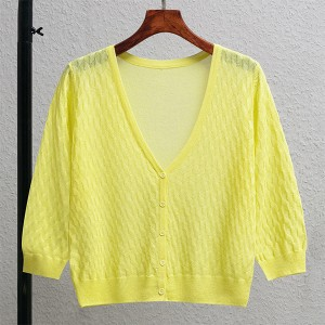 Textured Button Up Thin Fabric Sexy Wear Outwear Top - Yellow