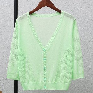 Striped Button Up Thin Fabric Sexy Wear Outwear Top - Green