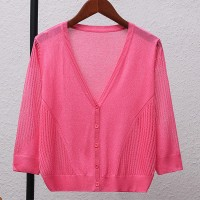 Striped Button Up Thin Fabric Sexy Wear Outwear Top - Pink