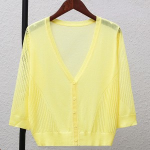 Striped Button Up Thin Fabric Sexy Wear Outwear Top - Yellow