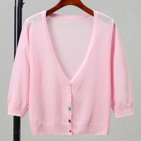 Button Up Thin Fabric Sexy Wear Outwear Top - Pink