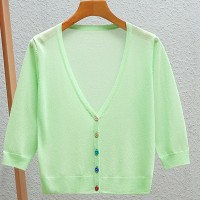 Button Up Thin Fabric Sexy Wear Outwear Top - Green