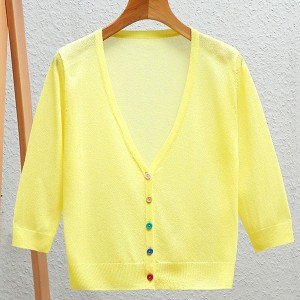 Button Up Thin Fabric Sexy Wear Outwear Top - Yellow