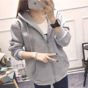 Zipper Closure Long Sleeved Winter Fashion Jacket - Gray