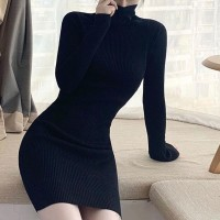 Ribbed High Neck Full Sleeves Winter Wear Mini Dress - Black