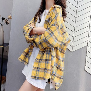 Loose Casual Wear Baggy Vintage Style Fashion Shirt - Yellow