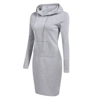 Hoodie Neck Body Fitted Winter Wear Dress - Gray