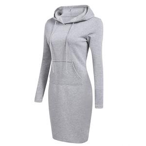 Hoodie Neck Body Fitted Winter Wear Dress - Gray
