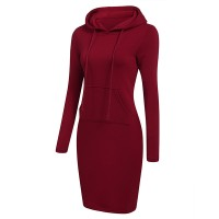 Hoodie Neck Body Fitted Winter Wear Dress - Wine Red