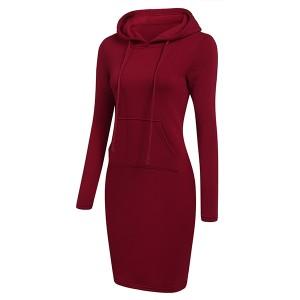 Hoodie Neck Body Fitted Winter Wear Dress - Wine Red