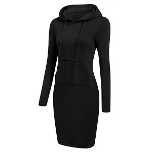 Hoodie Neck Body Fitted Winter Wear Dress - Black