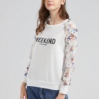 Round Neck Full Sleeves Printed Women T-Shirt - White