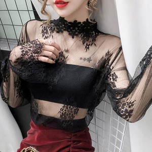Floral Lace Textured Thin Fabric See Through Blouse Top - Black