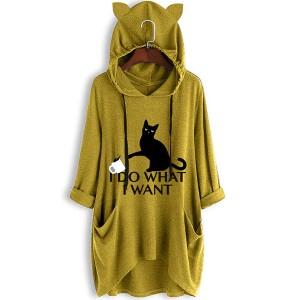 Cat Printed Hoodie Women Fashion Winter Long Tops - Yellow