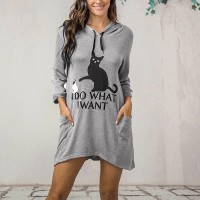 Cat Printed Hoodie Women Fashion Winter Long Tops - Gray