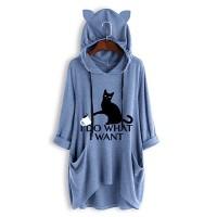 Cat Printed Hoodie Women Fashion Winter Long Tops - Blue
