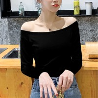 Off Shoulder Full Sleeves Body Fitted Top - Black