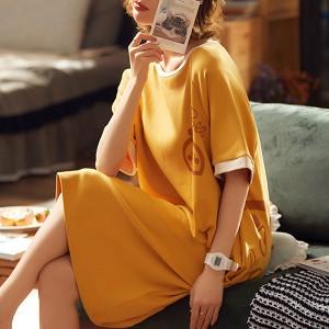 Round Neck Contrast Women Fashion Casual Dress - Yellow