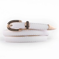 Ladies Vintage Gold Buckle Thin Belt - White