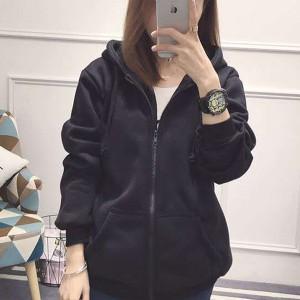 Zipper Closure Long Sleeved Winter Fashion Jacket - Black