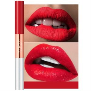 Double Headed Matte Liquid Pearlescent Lip Glitter - Wind Red