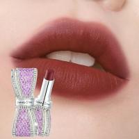 Girls Bowknot Rhinestone Matte Moisturizing Lipstick - Brick Red