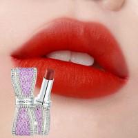 Girls Bowknot Rhinestone Matte Moisturizing Lipstick - Red