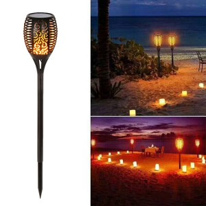 Waterproof Outdoor Led Solar Torch Light Control Flames - Black