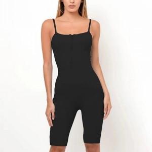 Spaghetti Strapped Sleeveless Sexy Wear Mini Jumpsuit - Black