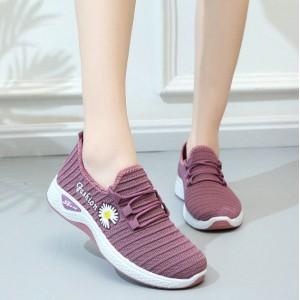 Breathable Flower Thread Art Sports Wear Sneakers - Purple
