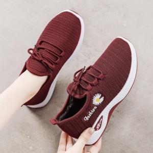 Breathable Flower Thread Art Sports Wear Sneakers - Red
