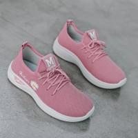 Breathable Flower Thread Art Sports Wear Sneakers - Pink
