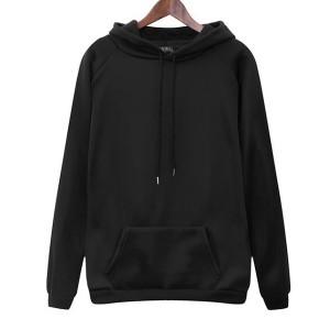 Winter Special Duo Pocket Full Sleeves Hoodie Top - Black