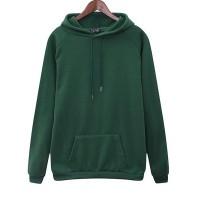 Winter Special Duo Pocket Full Sleeves Hoodie Top - Green