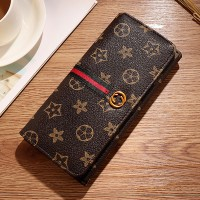 Creative Magnetic Lock Design Large Capacity Women Wallet - Coffee