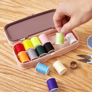 Creative Colorful Thread Manual Stitching Sewing Tools Box - Pink