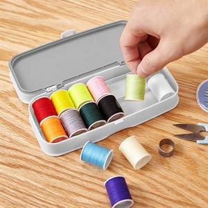 Creative Colorful Thread Manual Stitching Sewing Tools Box - Gray