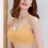 Padded Strap Adjustable Women Casual Wear Bra - Yellow